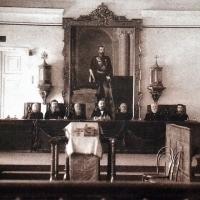 Заседание Вятского окружного суда под председательством В.К. Кудревича, 1890-е гг.